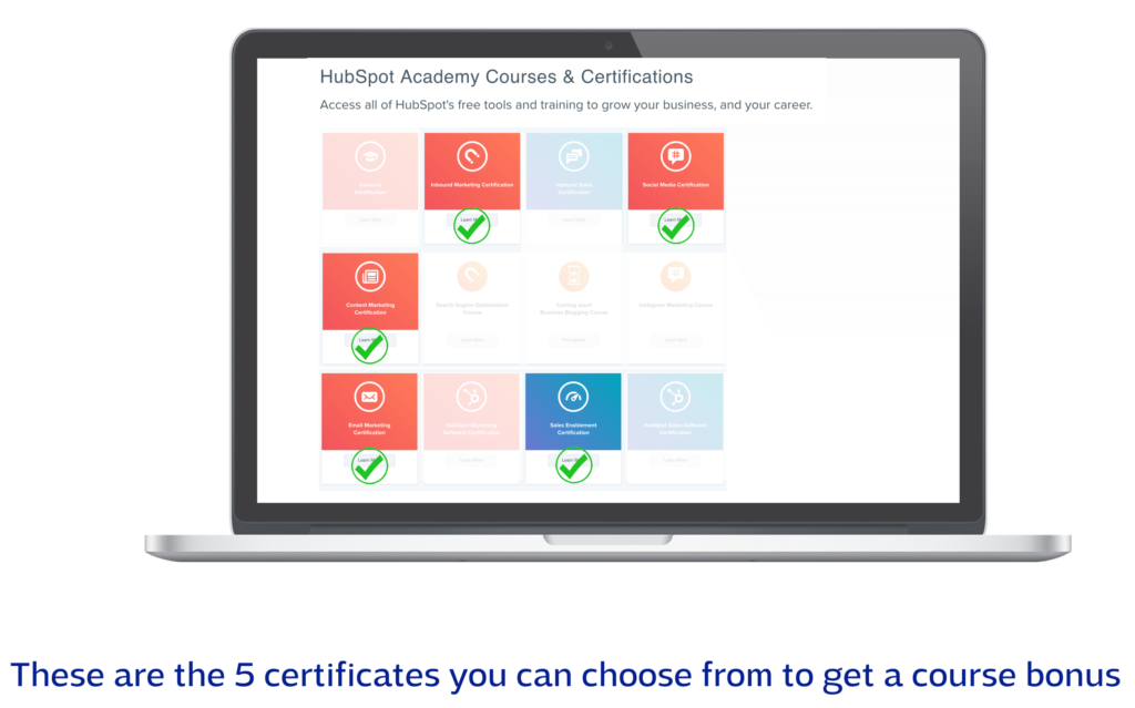 Hubspot certifications to choose from